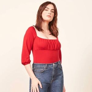 Reformation Mari Top in Cherry